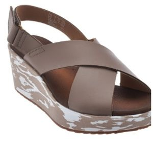 Clarks Collection Taupe Leather Wedge- Stasha Hale